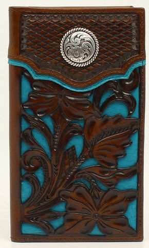 Nocona Colorful Floral Overlay Rodeo Wallet, Blue, hi-res
