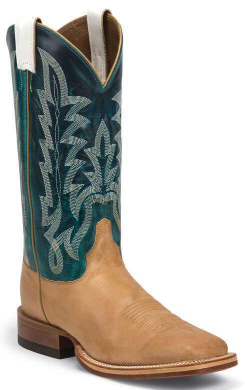 Justin Men's Ranch Collection Cognac Hammer Cowboy Boots - Square Toe , Toast, hi-res