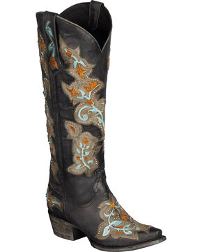 Lane Bliss Cowgirl Boots - Snip Toe, Black, hi-res