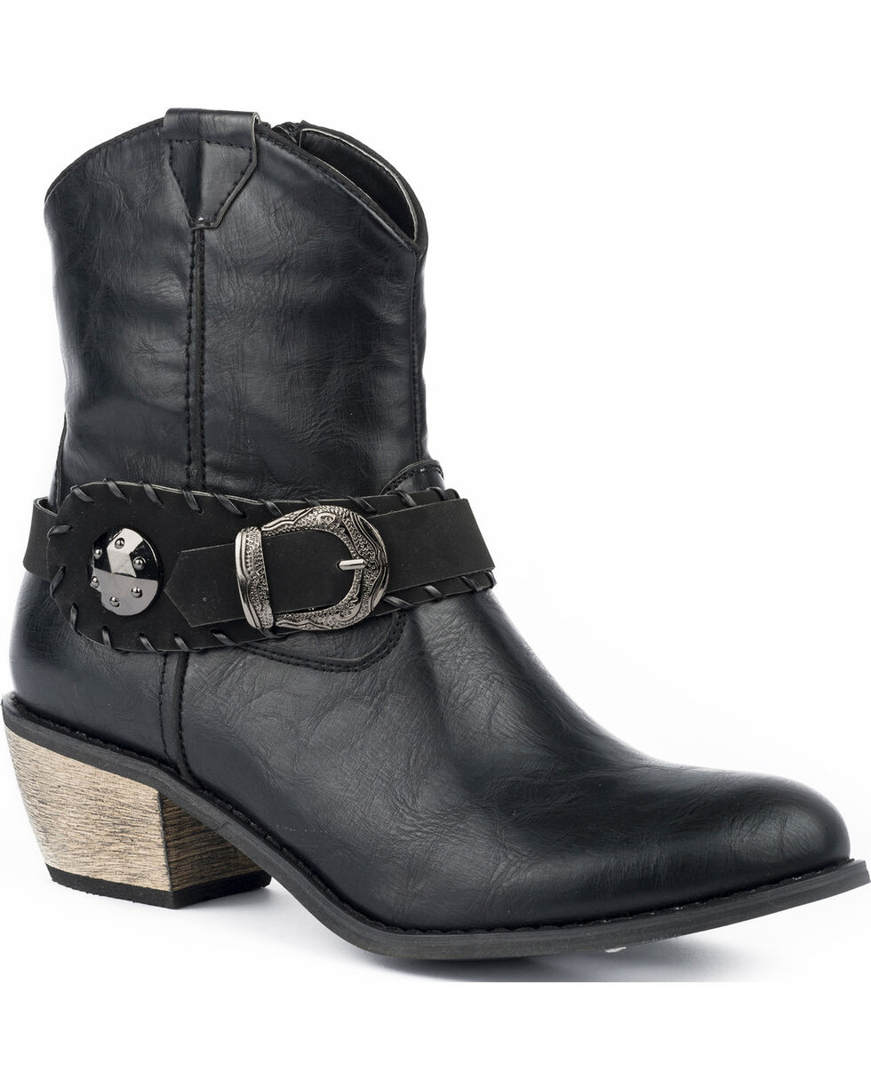 Roper Women's Mae Buckle Strap Short Fashion Boots - Round Toe, Black, hi-res