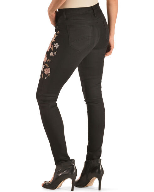 Driftwood Women's Jackie Floral Embroidered Jeans - Skinny, Black, hi-res