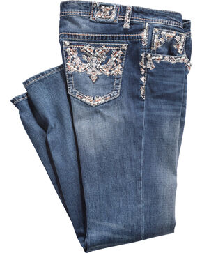 Grace in LA Women's Pocket Stitched Straight Leg Jeans - Plus Size, Indigo, hi-res