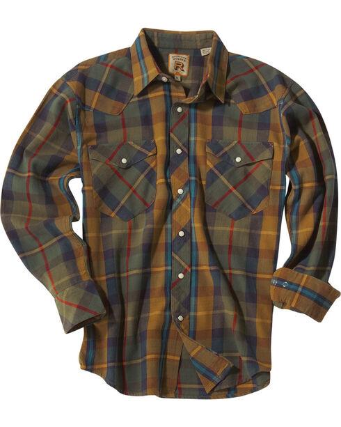 Resistol Men's Gold Jesup Plaid Long Sleeve Shirt , Gold, hi-res