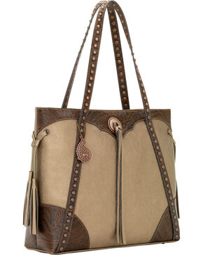 Bandana by American West Jackson Hole Large Shopper Zip Top Tote, Grey, hi-res