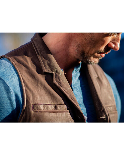 Ryan Michael Men's Tumbled Leather Vest , Brown, hi-res