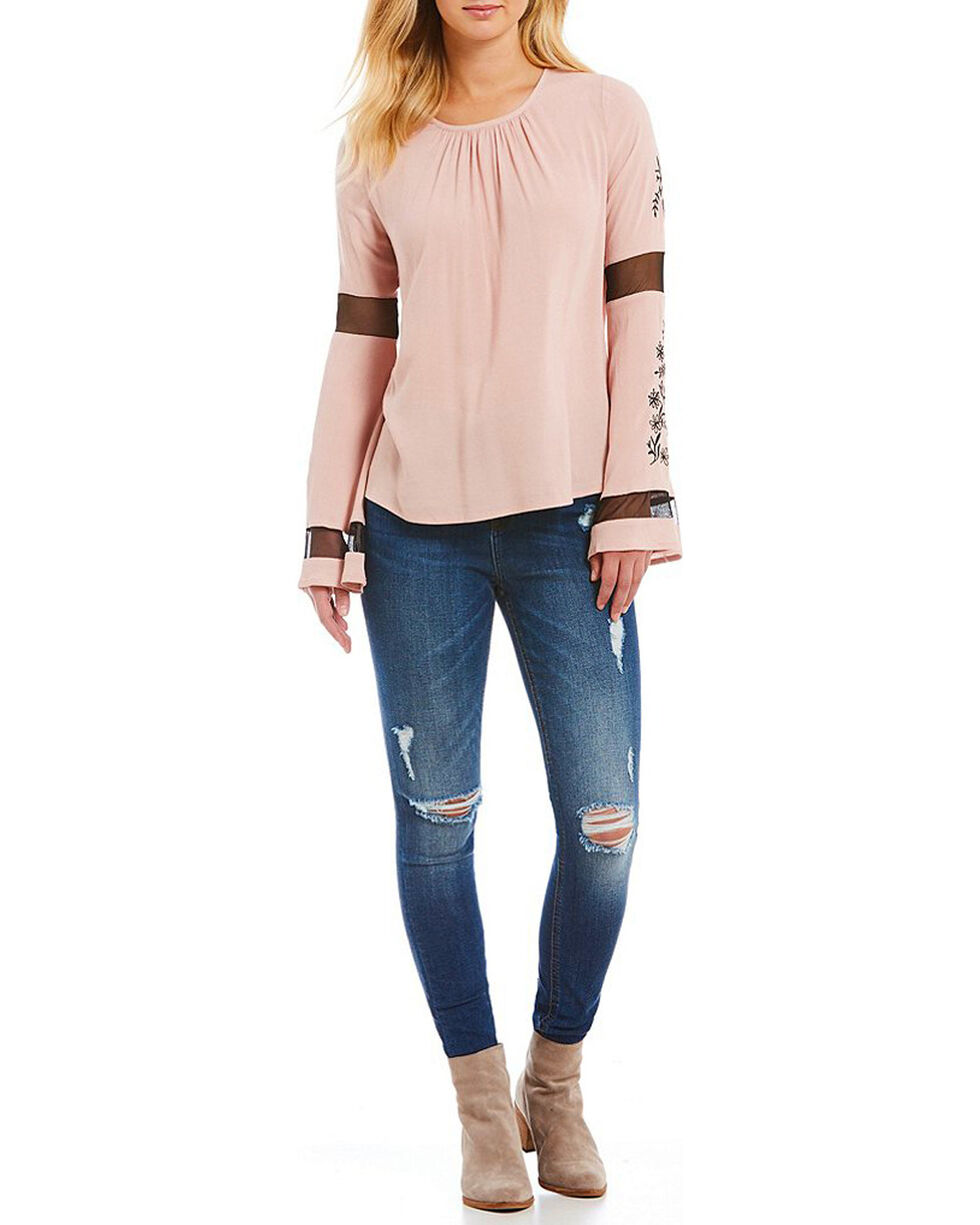 Miss Me Women's Embroidered Mesh Bell Sleeve Peasant Top, Mauve, hi-res