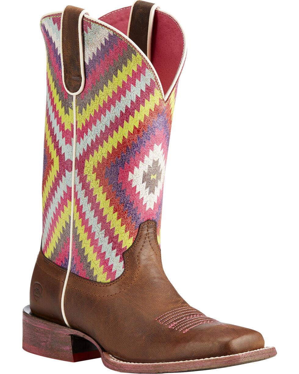 Ariat Women's Brown Circuit Savanna Aztec Boots - Square Toe , Brown, hi-res