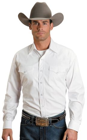 Stetson Solid Snap Oxford Shirt, White, hi-res