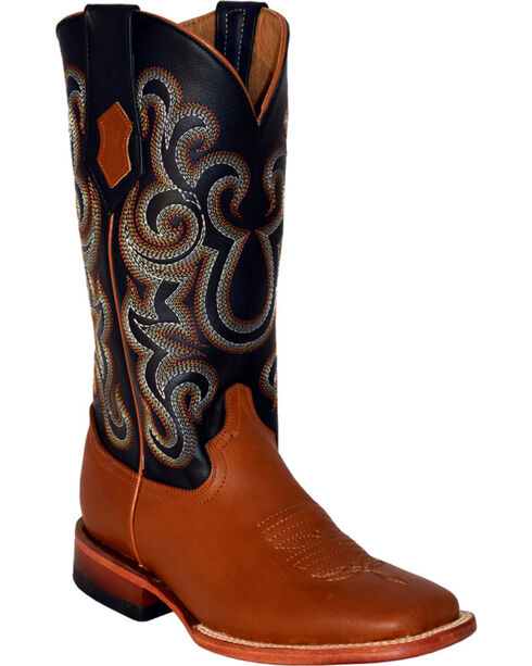 Ferrini French Calf Leather Cowgirl Boots - Square Toe, Cognac, hi-res