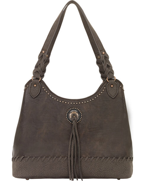 Bandana by American West Women's Guns and Roses Three Compartment Tote, Chocolate, hi-res