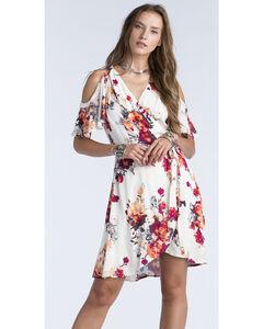 Miss Me Women's Cream Ruffled Open Shoulder Floral Print Wrap Dress, , hi-res