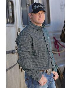 Cinch Men's Printed Plain Weave Long Sleeve Button Down Shirt, Black, hi-res