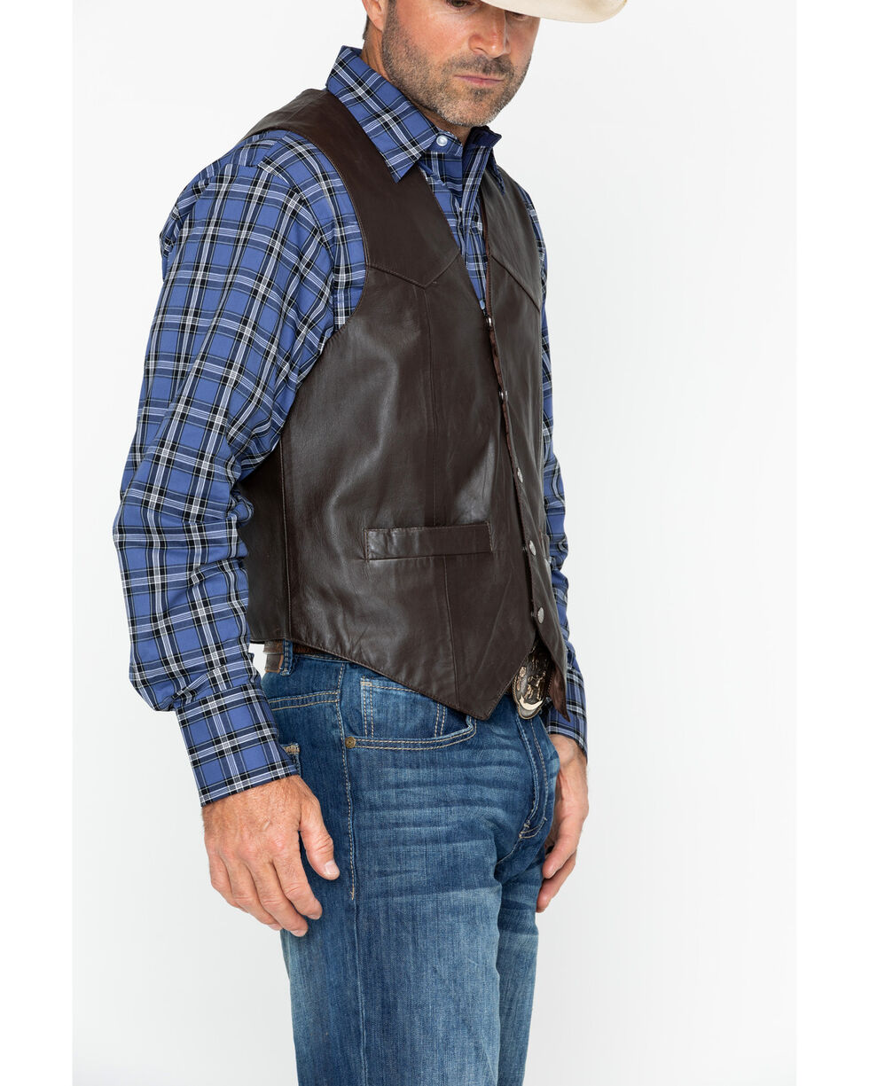 Scully Lambskin Snap Front Vest, Brown, hi-res