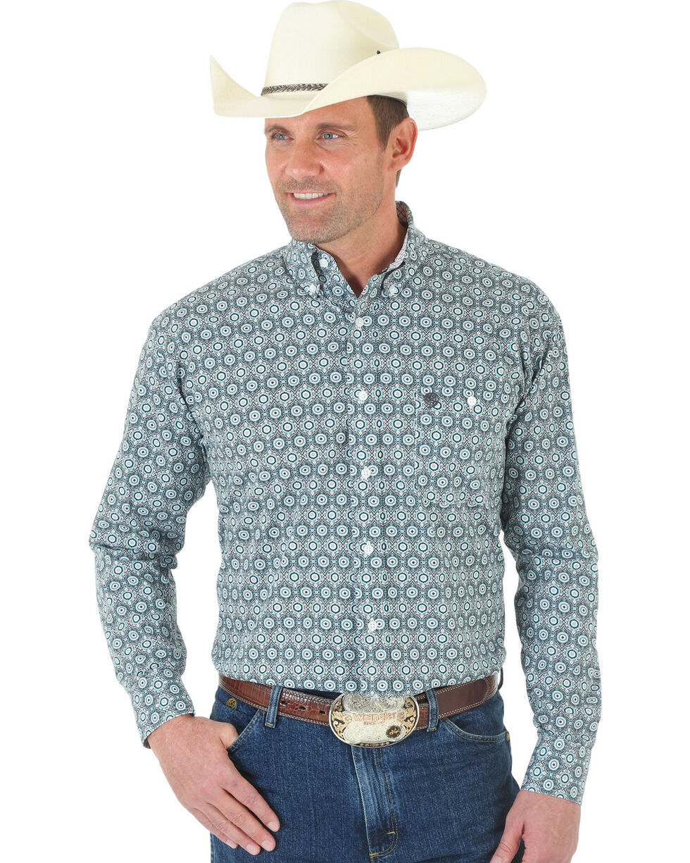 Wrangler George Strait One Pocket Black and White Print Poplin Shirt, Blk/white, hi-res