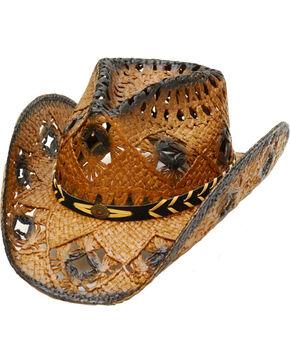 Western Express Women's Dark Brown Straw Cowgirl Hat, Dark Brown, hi-res