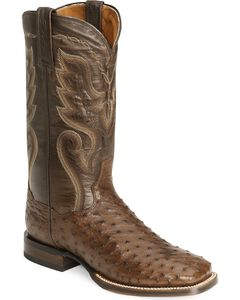 Dan Post Full Quill Ostrich Cowboy Certified Cowboy Boots - Wide Square Toe, , hi-res
