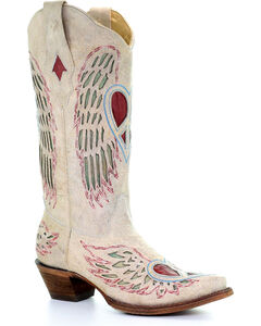 Corral Women's White Angel Wing Peace Heart Cowgirl Boots - Snip Toe , White, hi-res