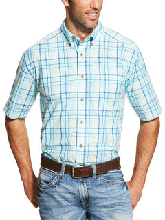 Ariat Men's Blue Ivan Short Sleeve Shirt - Big and Tall  , Blue, hi-res