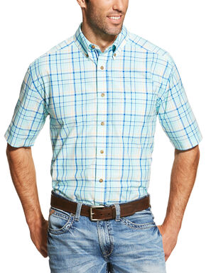 Ariat Men's Blue Ivan Short Sleeve Shirt - Big and Tall  , Blue, hi-res