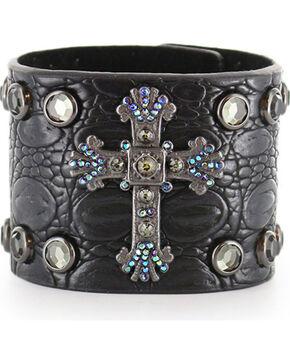 Shyanne® Women's Cross and Rhinestone Snap Bracelet, Black, hi-res