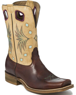 Nocona Men's Two Tone Diamond Inlay Cowboy Boots - Square Toe, Brown, hi-res
