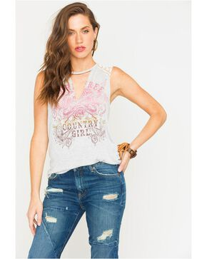 Z Supply Women's Born Free Lace Shoulder Tank, Heather Grey, hi-res