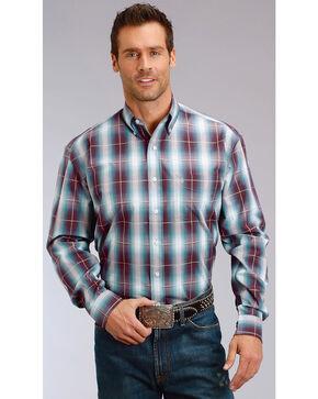 Stetson Men's Purple Plaid Long Sleeve Button Down Shirt, Purple, hi-res