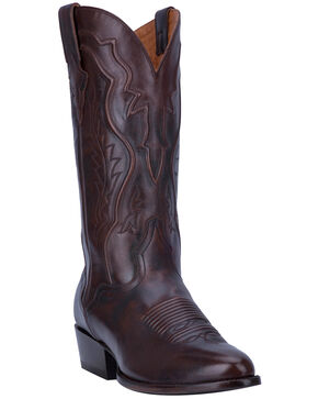 El Dorado Men's Handmade Antique Walnut Calfskin Cowboy Boots - Round Toe, Brown, hi-res