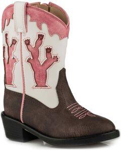 Roper Toddler Girls' Brown Desert Lights Cowgirl Boots - Round Toe, Brown, hi-res