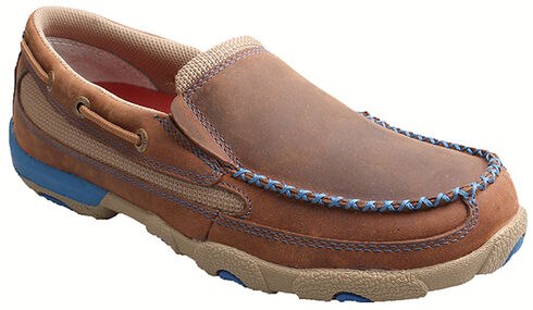 Twisted X Women's Brown and Blue Leather Driving Mocs, Saddle Brown, hi-res