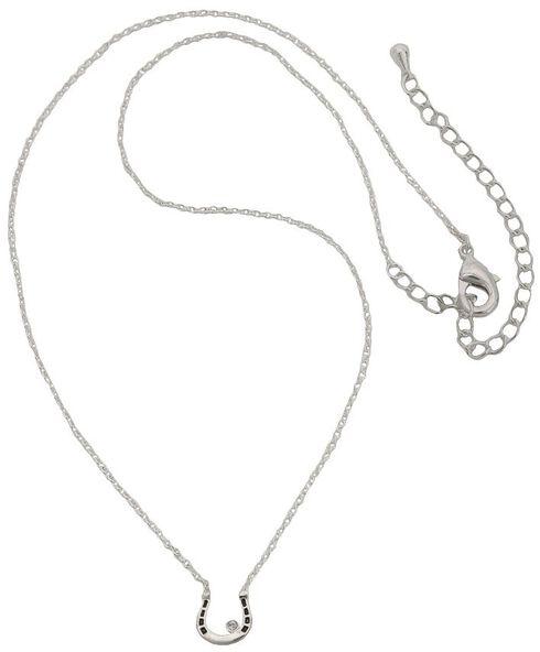 Montana Silversmiths Small Horseshoe & Rhinestone Necklace, Silver, hi-res