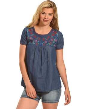 Angel Ranch Women's Floral Fiesta Tee , Indigo, hi-res