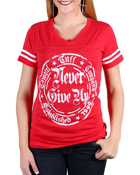 Cowgirl Tuff Women's Red Never Give Up Short Sleeve Tee , Red, hi-res