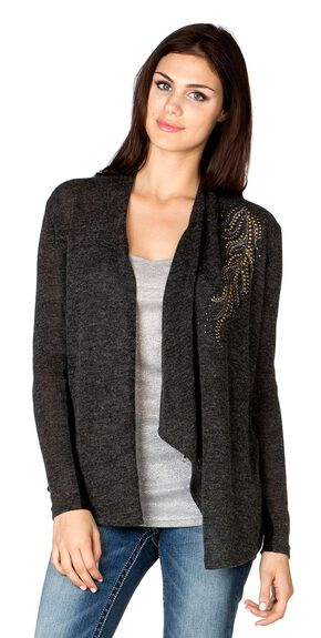 Miss Me Feather Embellished Cowl Cardigan, Charcoal Grey, hi-res