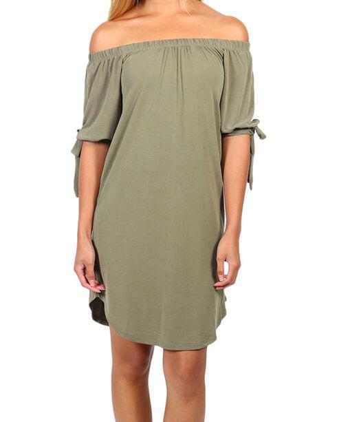 Derek Heart Women's Olive Off The Shoulder Tie Sleeve Dress , Olive, hi-res