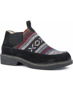 Roper Women's Isabel Aztec Fabric Suede Slip On Shoes - Round Toe, Black, hi-res
