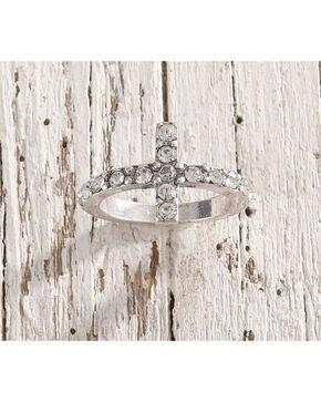 Shyanne Rhinestone Cross Ring – Size 7, Silver, hi-res