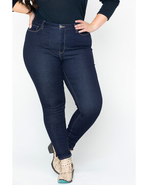 Silver Women's Dark Robson Jeggings - Plus Size, Indigo, hi-res