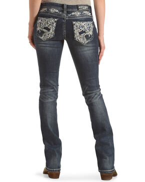 Grace in LA Women's Blue Rawedge Pocket Jeans - Boot Cut , Blue, hi-res