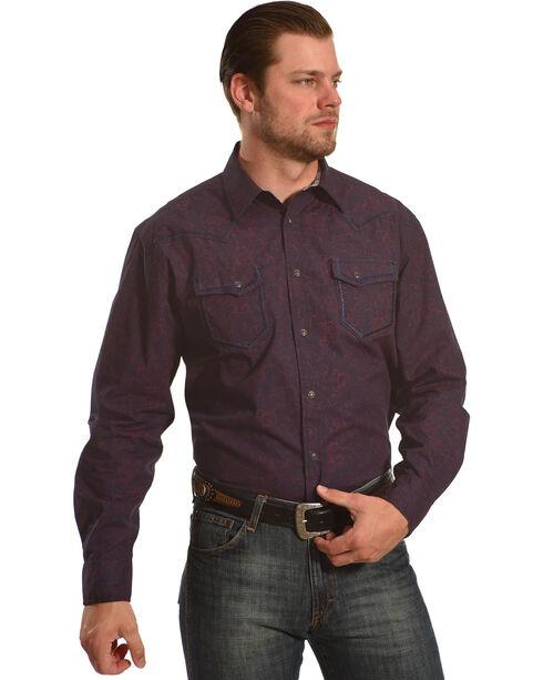 Moonshine Spirit Men's Burgundy Gunfight Long Sleeve Shirt , Burgundy, hi-res