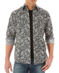 Wrangler Retro Men's Paisley Long Sleeve Shirt, Black, hi-res