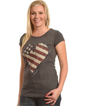 Bohemian Cowgirl Women's Grey Flag Heart Graphic Tee , Dark Grey, hi-res