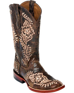 Ferrini Chocolate Wild Flower Cowgirl Boots - Square Toe, , hi-res