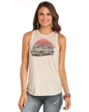 Rock & Roll Cowgirl Women's Americana Truck Tank, White, hi-res