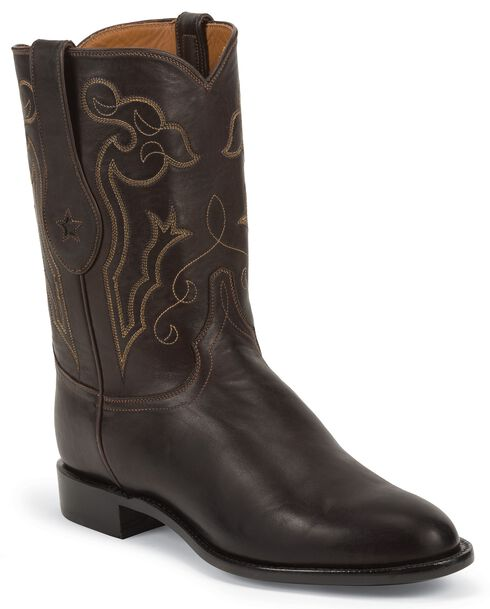 Tony Lama Signature Series Rista Calf Cowboy Boots - Round Toe, Chocolate, hi-res