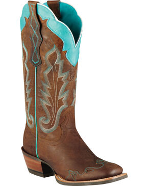 Ariat Caballera Cowgirl Boots - Wide Square Toe, Brown, hi-res