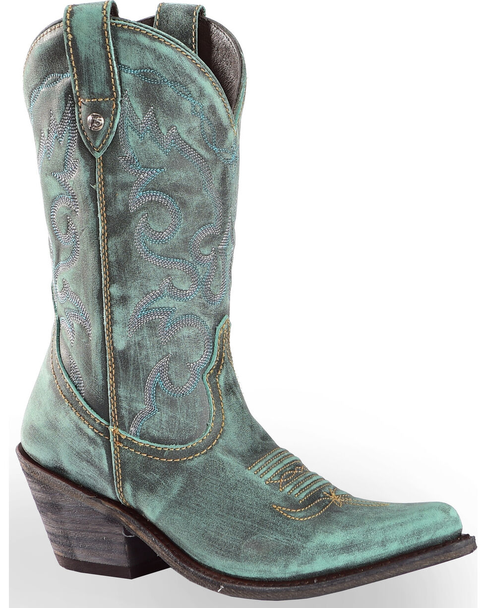 Liberty Black Women's Vintage Azul Western Cowgirl Boots - Pointed Toe , Turquoise, hi-res