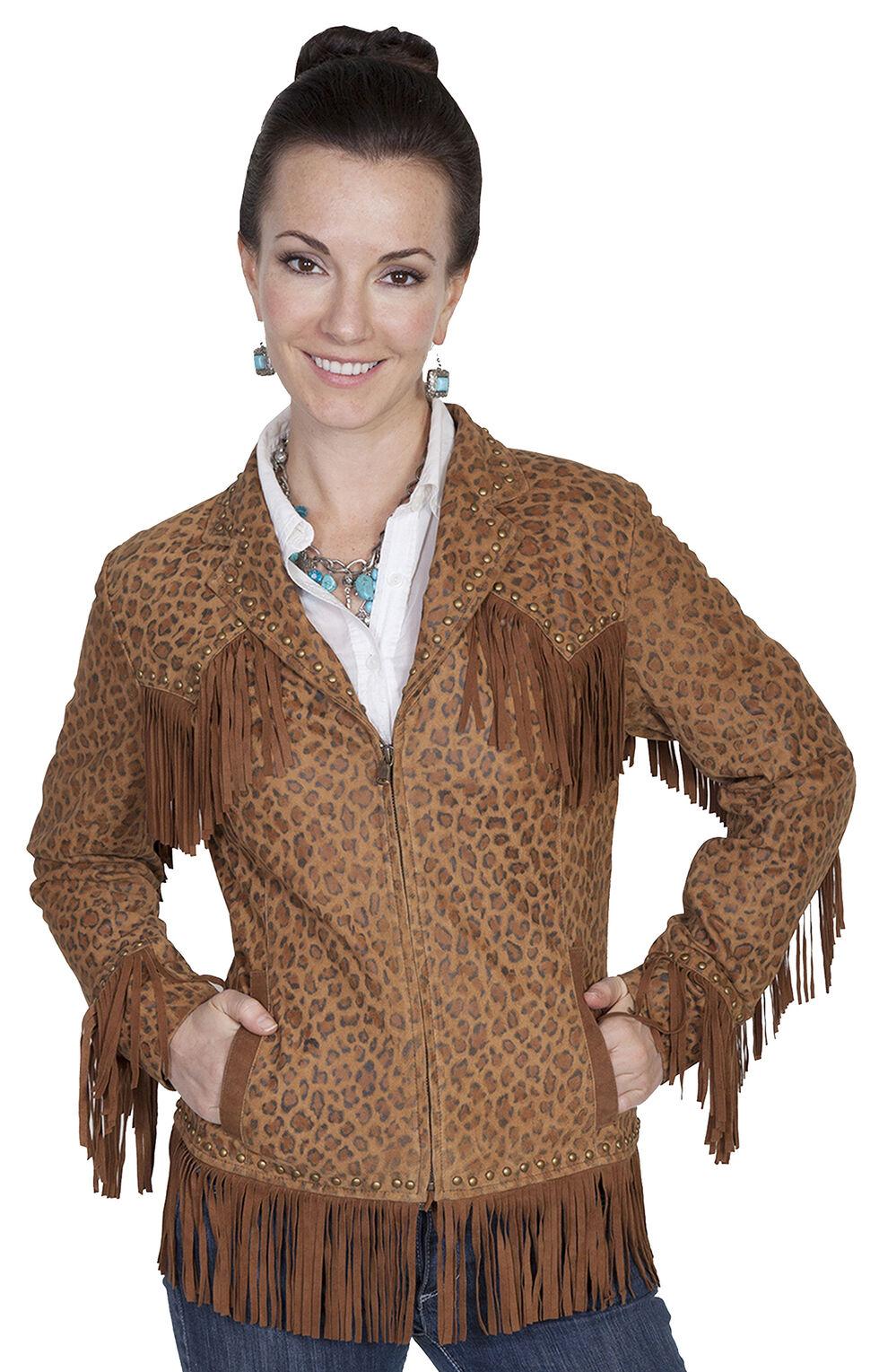 Scully Women's Fringe Leopard Print Lamb Suede Jacket, Brown, hi-res
