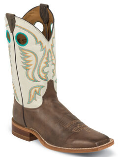 Justin Burnished Ivory Cowboy Boots - Square Toe, , hi-res