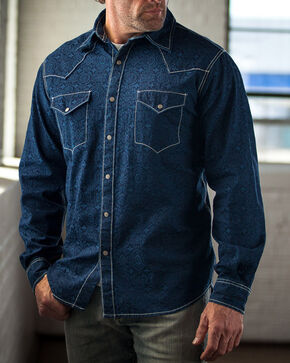 Ryan Michael Men's Dark Blue Indigo Distressed Jacquard Western Shirt, Dark Blue, hi-res